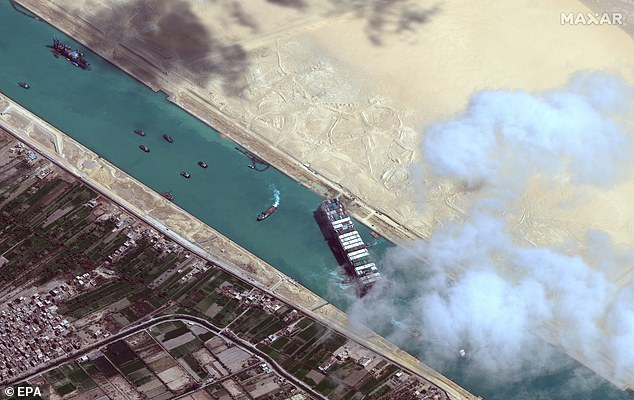 Egypt made headlines for a number of disasters including a giant ship blocking the Suez Canal (pictured), a fatal train accident and fires across the country.