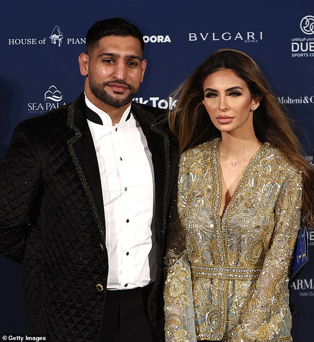 Glam: Faryal and her husband attended the Globe Soccer Awards in Dubai despite coming into contact with people who tested positive for the virus