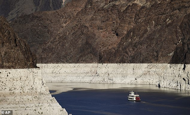 Some 74 million Americans live in these regions, with many relying on the Colorado River (pictured) for drinking and irrigating crops that currently has below-normal water levels