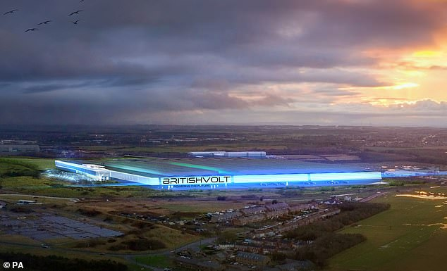Gigaplant: An artist's impression of the British Volt factory in Blyth, Northumberland which is currently under construction