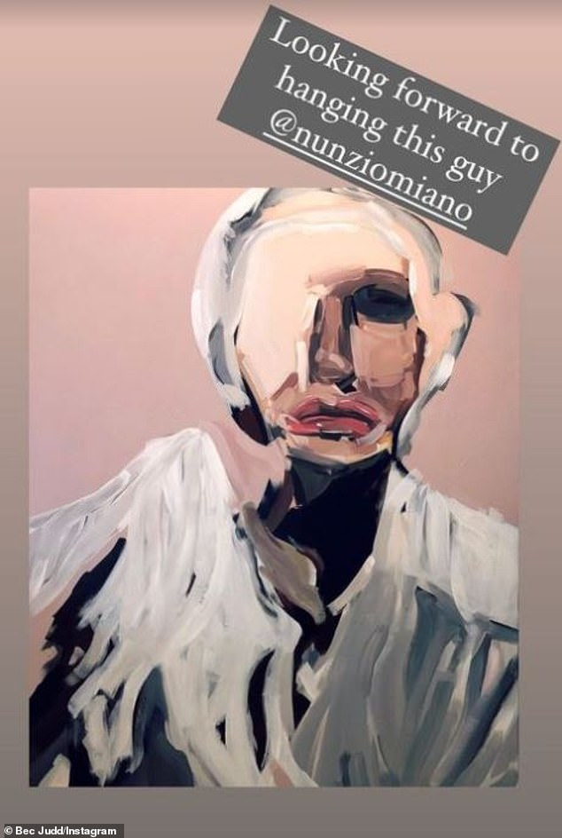 New piece: Rebecca Judd has splashed out on a new painting (pictured) to hang in her $7.3million Brighton mansion... after showing off a collage artwork of HERSELF that takes pride of place in her living room