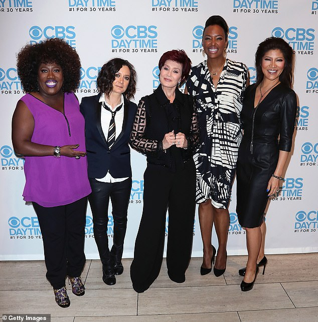 Bad blood: Allegations subsequently emerged that she had made racist remarks towards her Talk co-hosts over the years, and she was soon forced to resign;  seen with (L¿R) Sheryl Underwood, Sara Gilbert, Aisha Tyler and Julie Chen