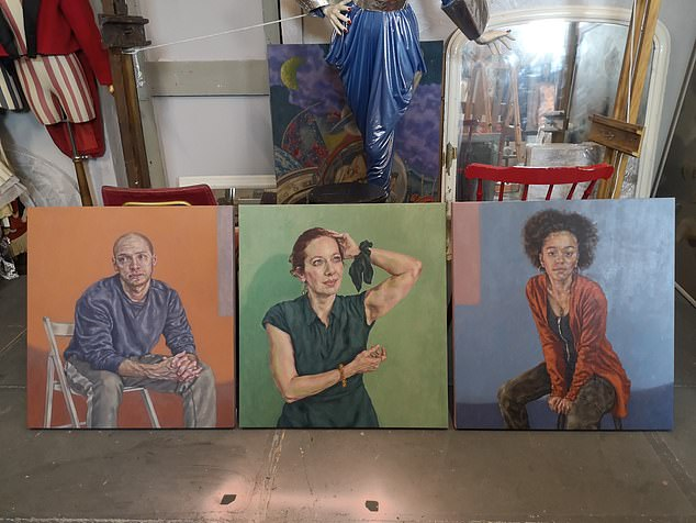 Roxana Halls' paintigs ofMark Weinman, Katherine Parkinson and Alex Jarrett painting used in the play Sitting, about three people having their portraits painted