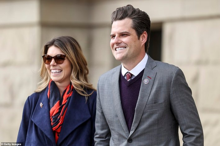 Gaetz with his fiancée food analyst Ginger Luckey, 26, who he met in early 2020 at Trump's Mar-a-Lago club. Multiple women reportedly told investigators the Florida lawmaker and staunch Trump ally, 38, would message them arranging a place to meet and telling them how much he was wiling to pay them