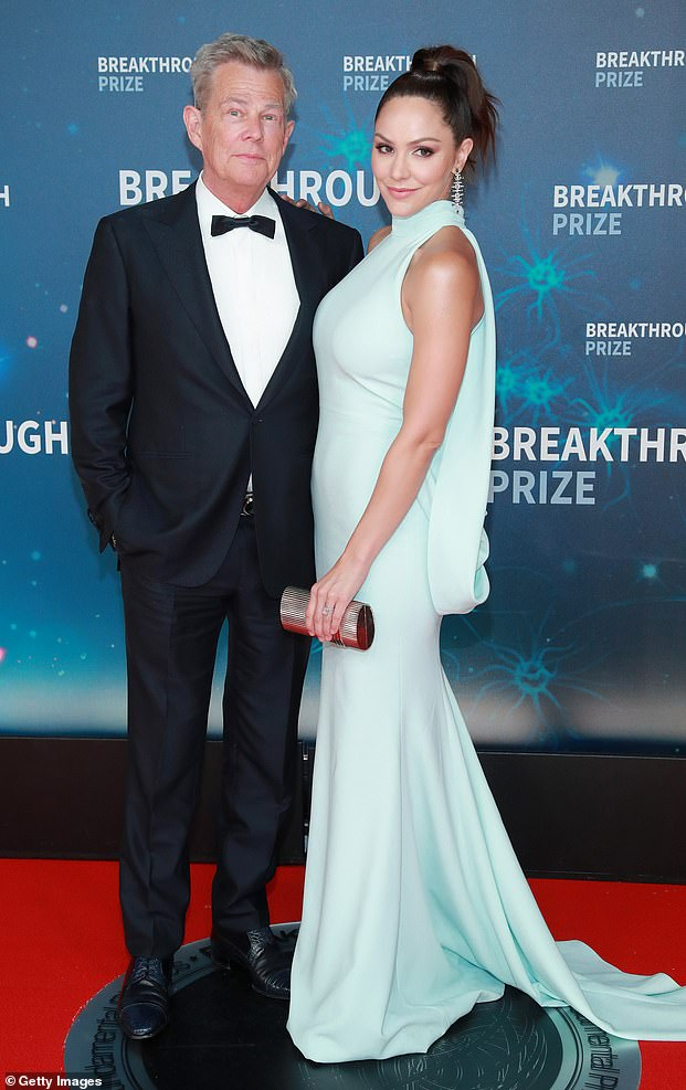 Couple: Singer and actress Katharine married David, 71, in 2019 and they welcomed their son Rennie on February 24 (pictured together in 2019)