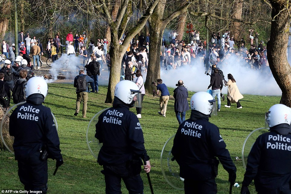 Organisers of the La Boum festival told party-goers that the event was fake several times leading up to April 1. Pictured: Police clearing revellers from the park