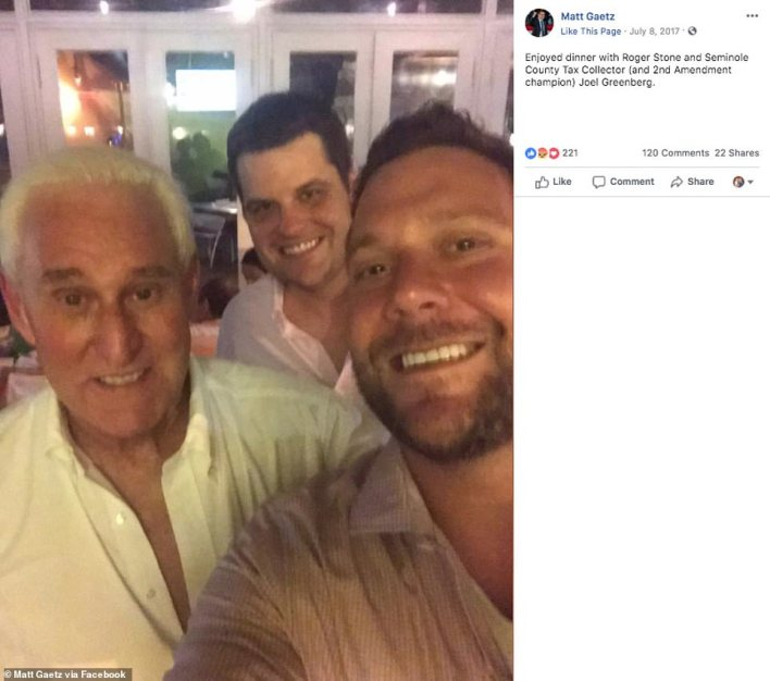Gaetz was reportedly first introduced to the women through Greenberg, who is currently in jail awaiting trial on sex trafficking charges. Greenberg, Gaetz and Roger Stone pictured together