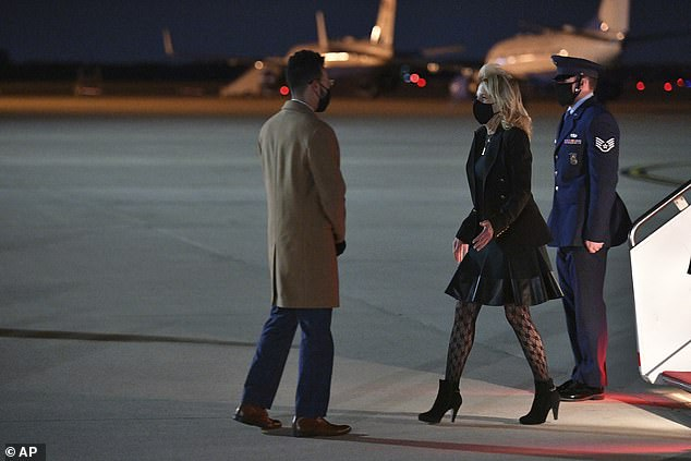 Jill Biden is seen landing back at Andrews Air Force Base on Thursday, after her prank