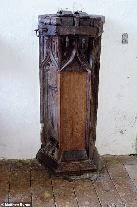 THE HOLY TRINITY CHURCH, BLYTHBOROUGH, SUFFOLK: 'Thefts of money from churches were probably as common in the Middle Ages, as today,' reveals Matthew. 'At Holy Trinity, Blythborough, there is a strongly built example of a pillar poor-box designed for security in the 15th century'