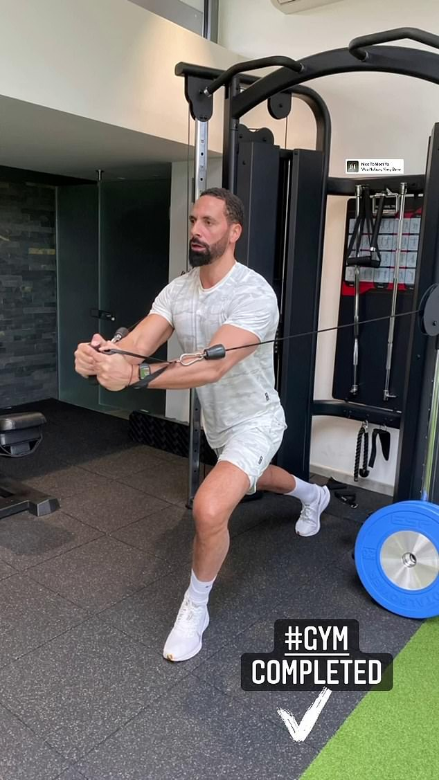 Power couple: Rio Ferdinand also hit the gym in light grey workout gear and fresh white trainers