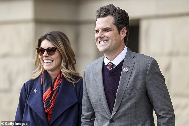 Gaetz with his fiancée food analyst Ginger Luckey, 26. Multiple women reportedly told investigators the Florida lawmaker and staunch Trump ally, 38, would message them arranging a place to meet and telling them how much he was wiling to pay them