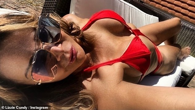 Heatwave: Lizzie has been making the most of the mini heatwave across the UK, stripping down for another bikini selfie on Tuesday