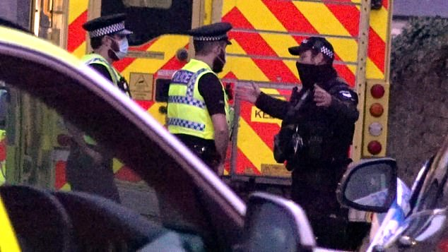 Shocked neighbours in Portland today described the dramatic moment armed police smashed down the door to find the man inside at around 6.30pm last night. Pictured is an armed policeman at the scene yesterday