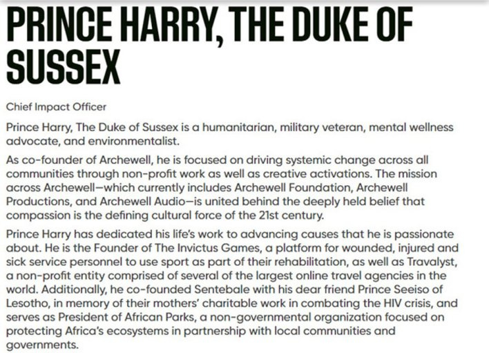 A statement on the company's website said: 'Prince Harry, The Duke of Sussex is a humanitarian, military veteran, mental wellness advocate, and environmentalist'