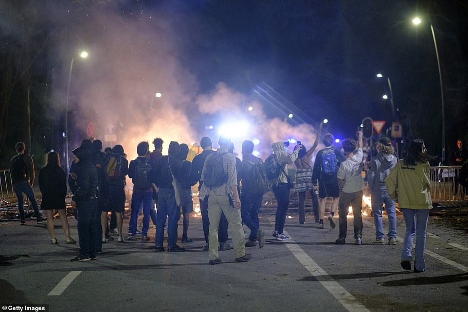 Teenagers clashed with the police as tensions escalated during an unauthorised festival