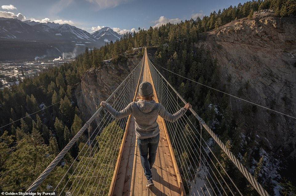 Golden Skybridgewill offer up dramatic 360-degree views of expansive alpine vistas and a breathtaking view of a 200ft (61m) waterfall