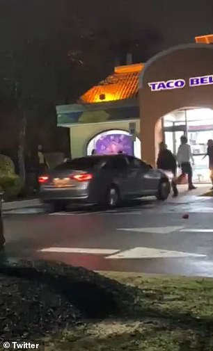 Footage captures the moment a driver strikes several people gathered outside a Maryland Taco Bell