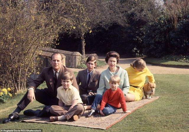 Have you come far: The royals in 60s sunshine at Frogmore with Princess Anne, Princes Philip, Andrew and Edward in 1968