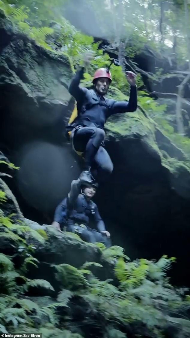 Leap of faith:Zac Efron is exploring some of Australia's iconic tourist attractions for his Netflix series Down to Earth. And on Saturday, he took a leap of faith and jumped into a waterfall while filming in the Blue Mountains