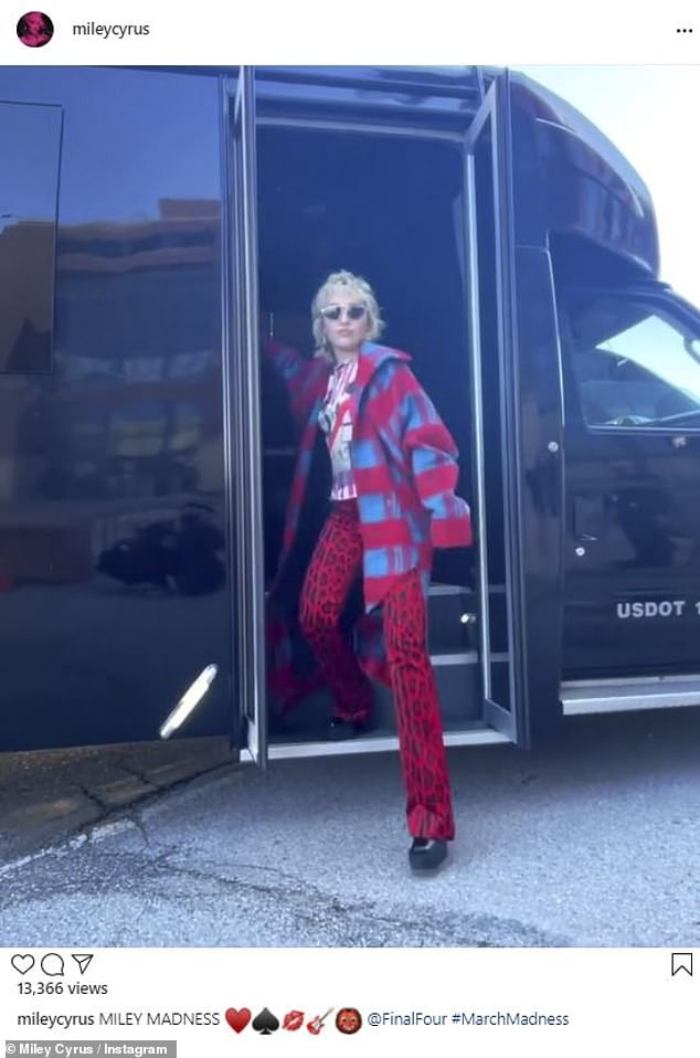 Time to party: Miley Cyrus, 28, looked super stylish in eye-catching '70s-style clothing as she arrived in Indianapolis at the end of the week to attend the NCAA Final four games