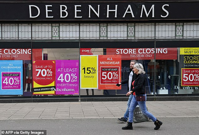 The figures revealed that 83,725 jobs lost in the period were due to administrations, including major collapses by Debenhams (pictured) and Sir Philip Green's Arcadia Group