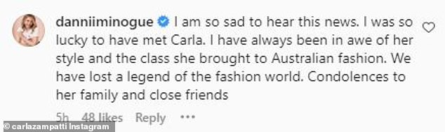 'We have lost a legend to the fashion world,' Danni posted to Instagram Saturday