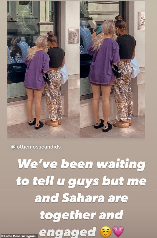 Shopping: Taking to her Instagram Stories, the model posted a shot which showed her window shopping in Beverly Hills with Sahara, 28, as she made her claim