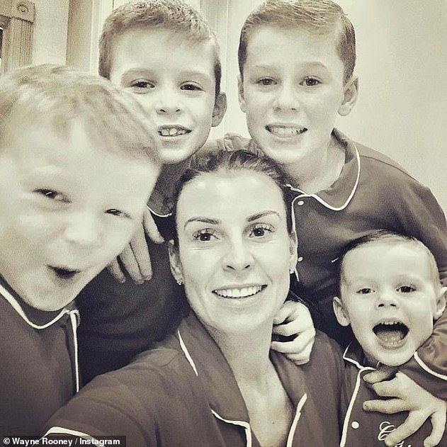 Her boys: In one snap, Coleen and her children donned matching pyjamas as they beamed for the camera