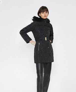 Pictured: The black padded coat cost £18 at Warehouse
