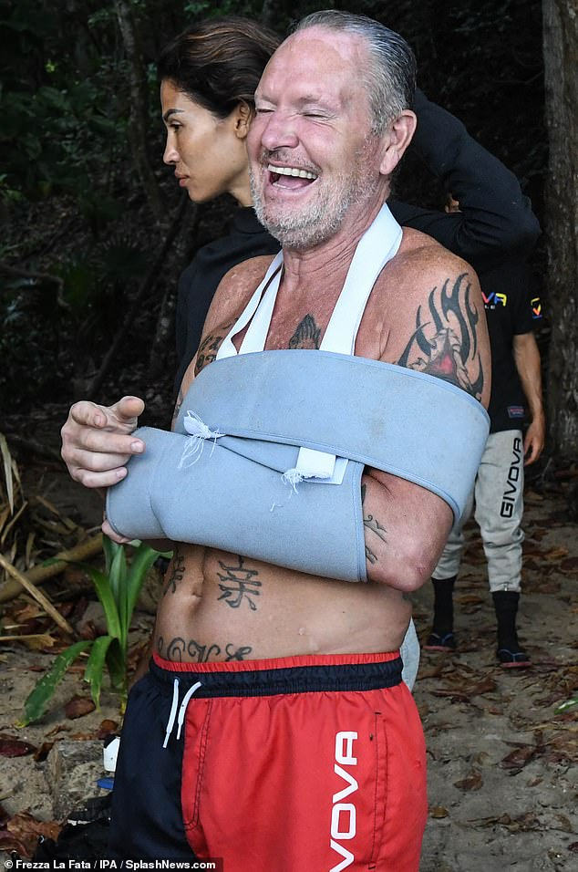 Ouch:The football legend, 53, had to spend a week in hospital after sustaining a shoulder injury during an endurance game on the reality show