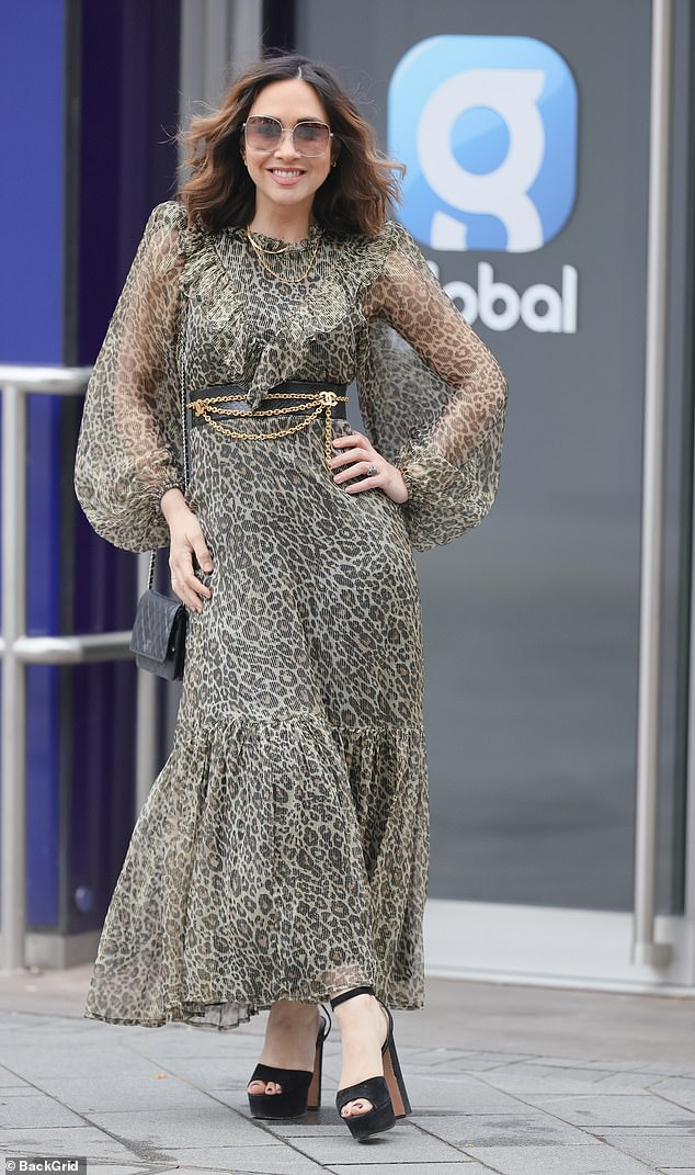 Style: The radio host, 42, turned heads as she made her way inside the Global Studios building in London