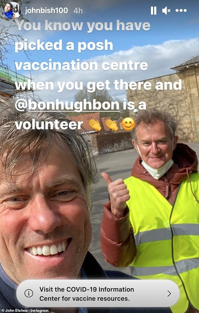 Thumbs up!John Bishop was greeted by non other than Hugh Bonneville when he arrived at a vaccination centre to get his coronavirus vaccination