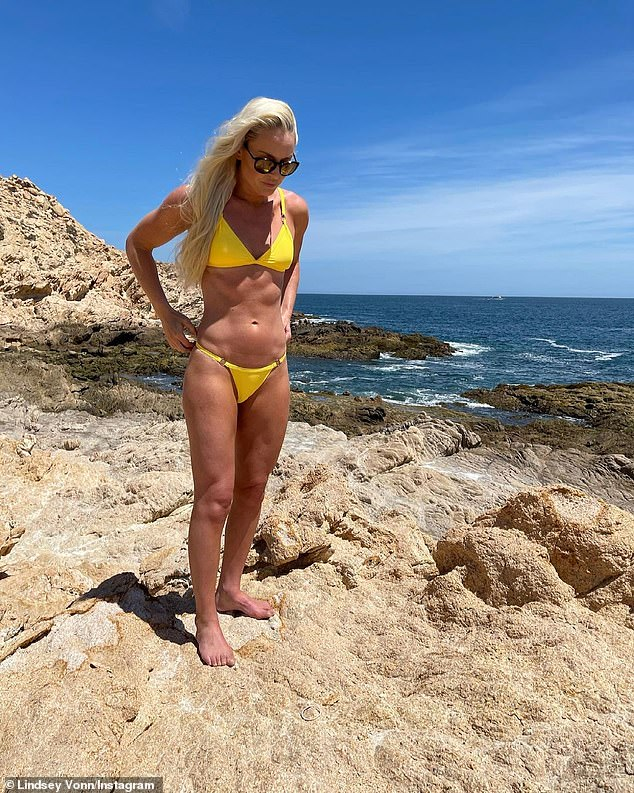 Bikini body: She has continued to update followers on her journey to become a better version of herself, additionally confessing that she has 15 percent body fat which is 'the lowest of [her] life'; pictured March 2021