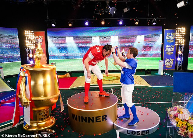 TV gold: During the popular Ant vs. Dec segment Stephen raised eyebrows when he took to the stage dressed as a gold football trophy