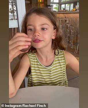 That time of the year! Fellow Myer model Rachael Finch took a break from her usual sugar-free diet with her children Violet, six, and son Dominic, three, eating chocolate