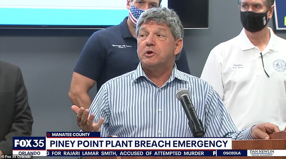 Manatee County Administrator Scott Hopes said at a press conference on Saturday that the water could flood the area, which he said was agricultural and low in population density