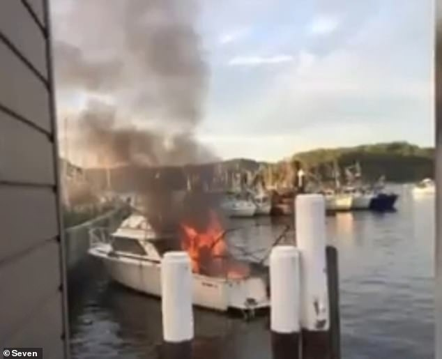 Firefighters arrived to find the vessel (pictuerd) alight with smoke billowing metres into the air