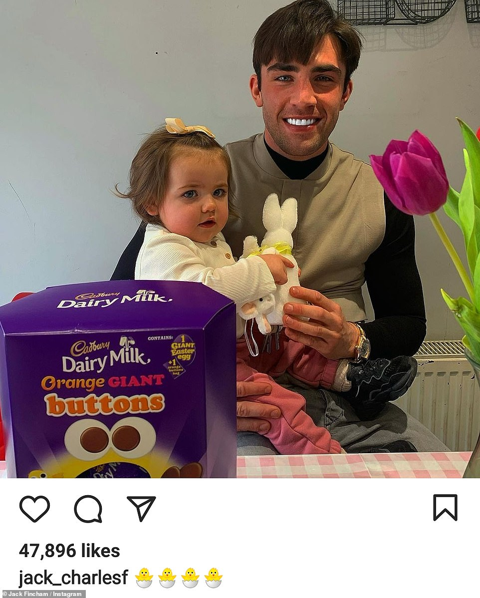 Dad: Jack Fincham took to Instagram to share a snap of himself posing with daughter Blossom
