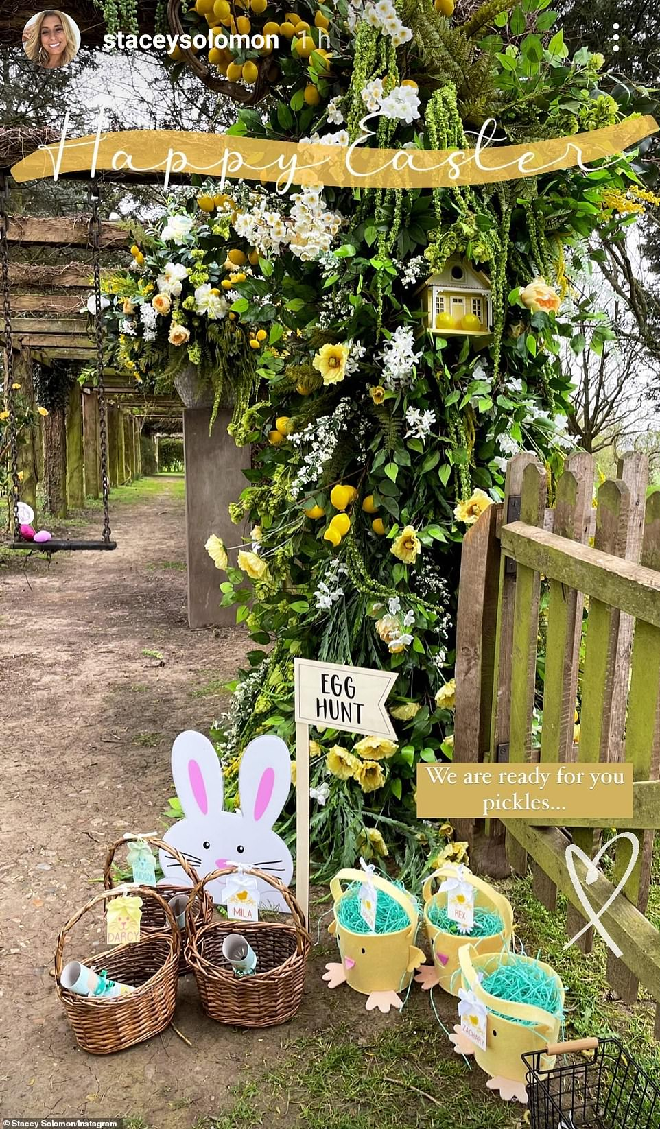 Impressive setup: She also posted a snapshot of the start of the Easter egg trail on the manicured grounds of he property