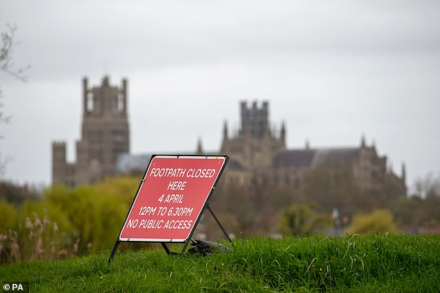 Notices and signs have been places on routes around the River Great Ouse, Cambridgeshire, warning people to keep away from footpaths along the river between 12pm and 6.30pm today