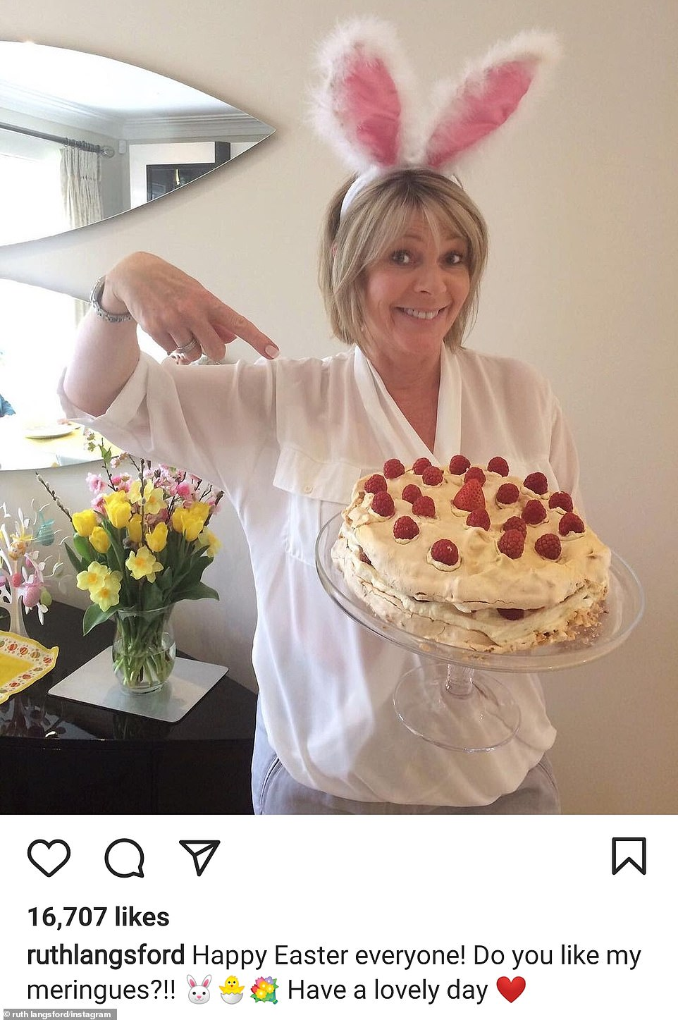 Yummy: Ruth Langsford kept the spirits of her household up as she also got into celebrations, after her husband and presenting partner Eamonn Holmes returned home from hospital amid his battles with unexplained pain