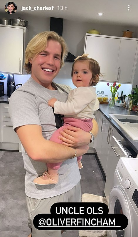 Adorable: Meanwhile, Oliver doted on Jack's adorable daughter