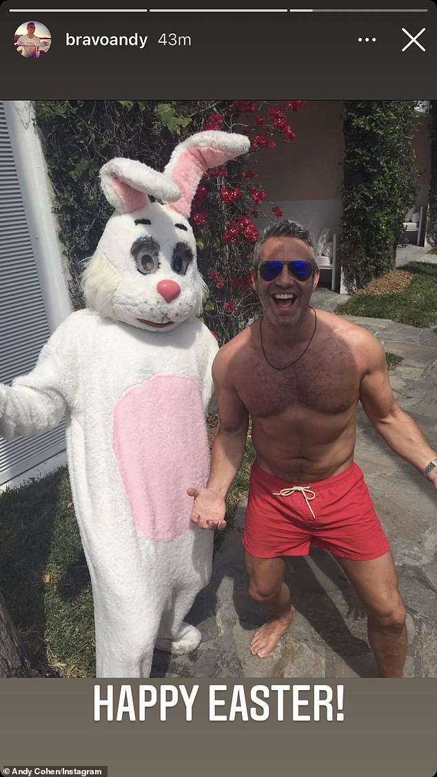 Shirtless snap: The Bravo host wished his followers a 'Happy Easter!' with a thirst trap