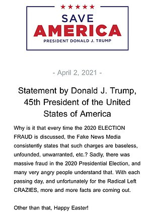This was the second 'Happy Easter' statement Trump has released, with a longer one put out on Friday which also contained scant evidence of Christian goodwill