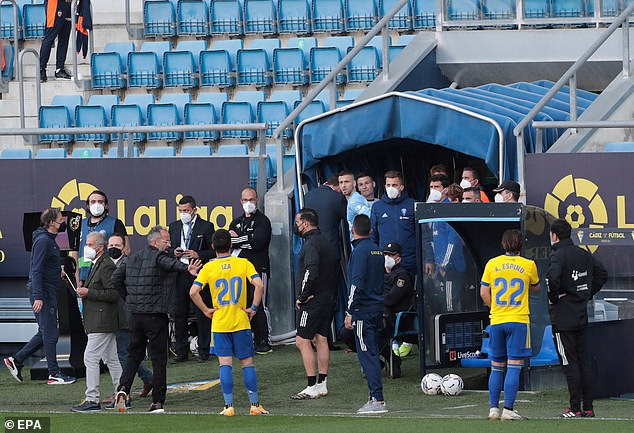 The match was suspended after 30 minutes when the Valencia players walked off the pitch