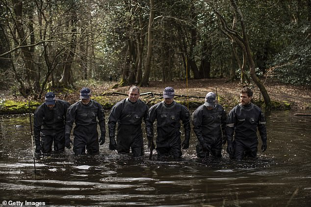 Police divers have been deployed and were seen in one of the bodies of water in the woodland in north-east London. April 1