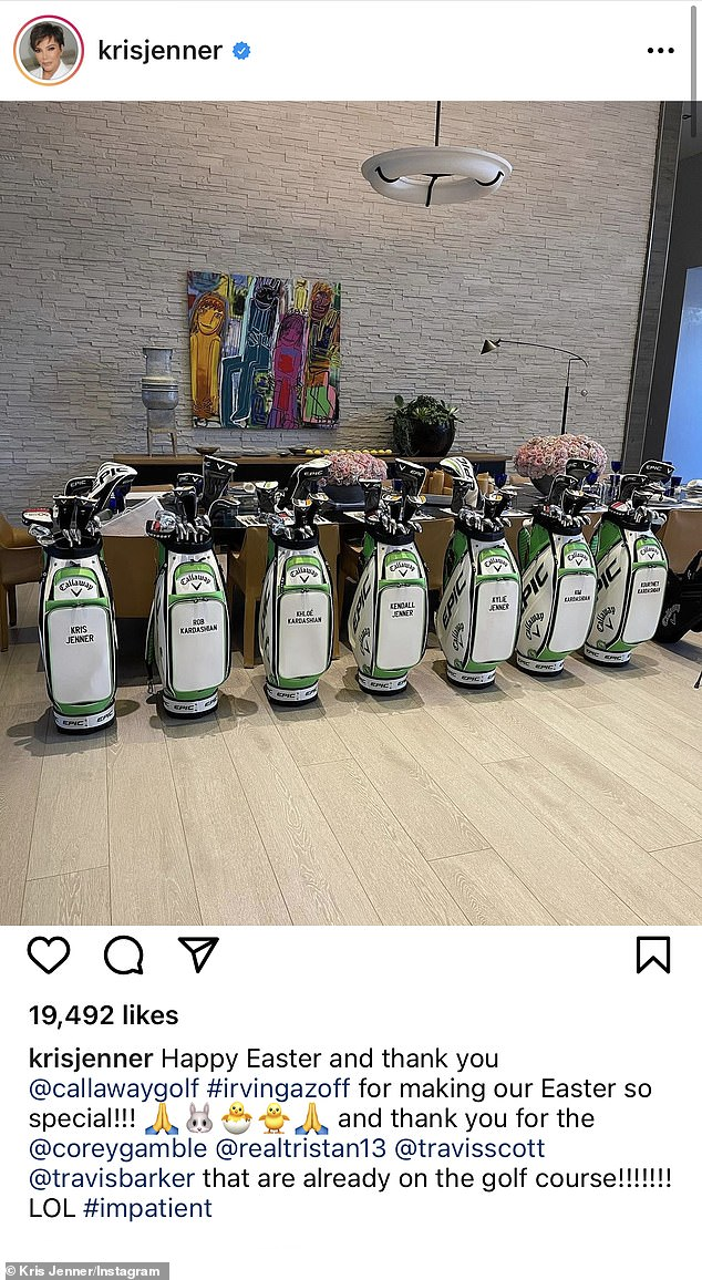Part of the club: Kris Jenner gifted her daughters and the men in their lives custom golf bags for Easter and didn't forget about Travis Barker, who joined girlfriend Kourtney Kardashian for the famuos family's Easter celebration