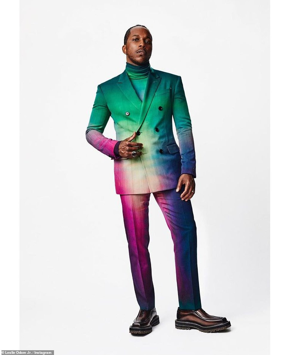 Over the rainbow: Leslie Odom Jr.'s technicolor suit with matching turtleneck wasn't one of his best looks