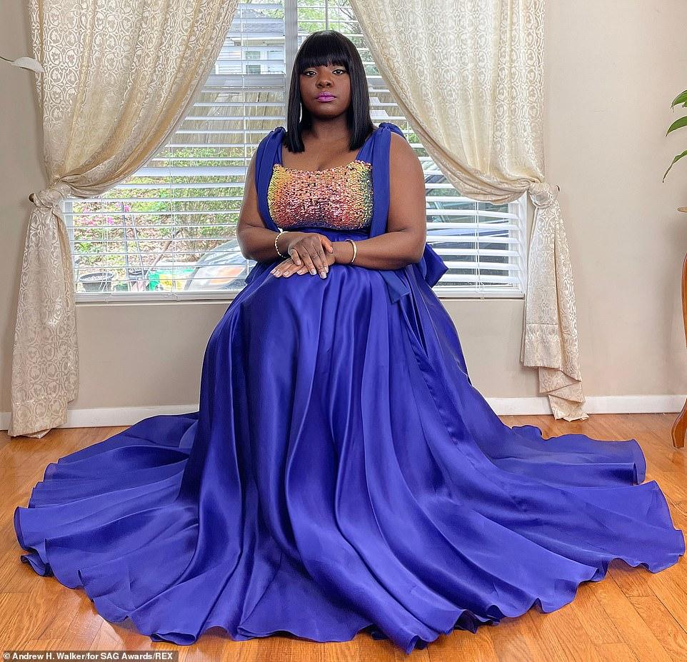 Joaquina Kalukango donned a shiny blue number with a glittery bodice
