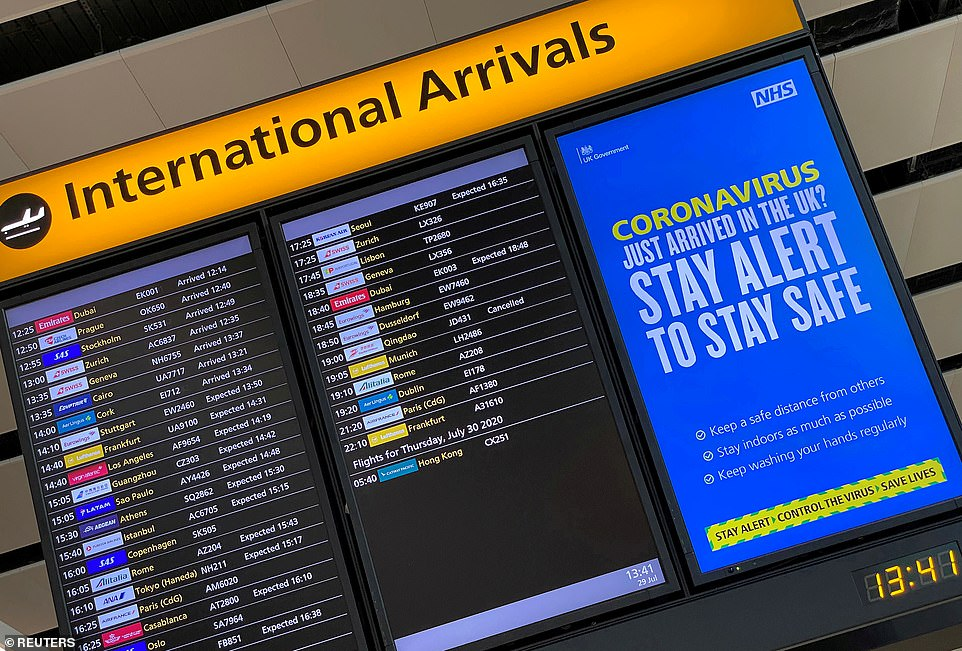 A public health campaign message is displayed on an arrivals information board at Heathrow Airport (File image)